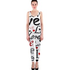 Love pattern - red OnePiece Catsuit