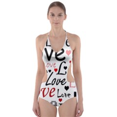 Love pattern - red Cut-Out One Piece Swimsuit