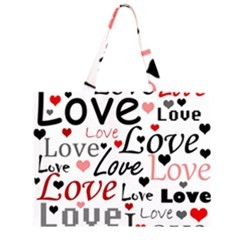 Love pattern - red Large Tote Bag