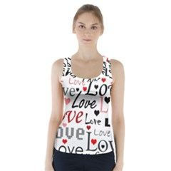 Love pattern - red Racer Back Sports Top
