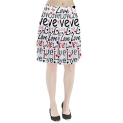 Love pattern - red Pleated Skirt