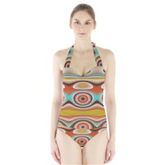 Oval Circle Patterns Halter Swimsuit