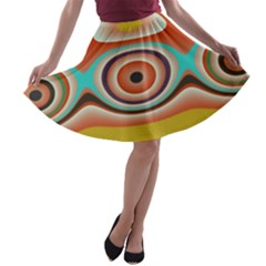 Oval Circle Patterns A Line Skater Skirt