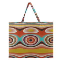 Oval Circle Patterns Zipper Large Tote Bag