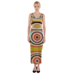 Oval Circle Patterns Fitted Maxi Dress