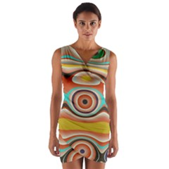 Oval Circle Patterns Wrap Front Bodycon Dress