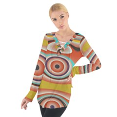 Oval Circle Patterns Women s Tie Up Tee