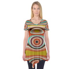 Oval Circle Patterns Short Sleeve Tunic
