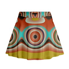 Oval Circle Patterns Mini Flare Skirt