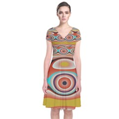 Oval Circle Patterns Short Sleeve Front Wrap Dress