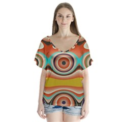 Oval Circle Patterns Flutter Sleeve Top