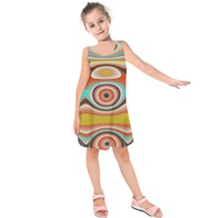 Oval Circle Patterns Kids  Sleeveless Dress
