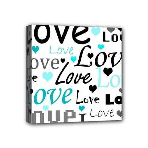 Love pattern - cyan Mini Canvas 4  x 4