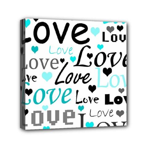 Love pattern - cyan Mini Canvas 6  x 6