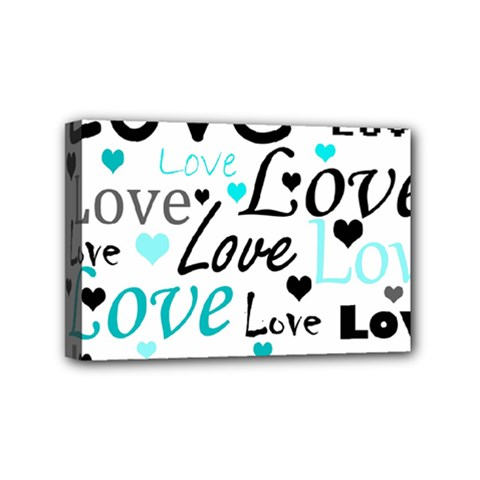Love pattern - cyan Mini Canvas 6  x 4