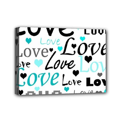 Love pattern - cyan Mini Canvas 7  x 5