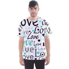Love pattern - cyan Men s Sport Mesh Tee