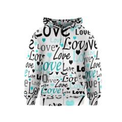 Love pattern - cyan Kids  Zipper Hoodie