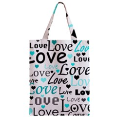 Love pattern - cyan Zipper Classic Tote Bag