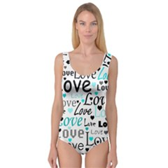 Love pattern - cyan Princess Tank Leotard