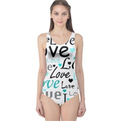 Love pattern - cyan One Piece Swimsuit