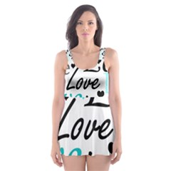 Love pattern - cyan Skater Dress Swimsuit