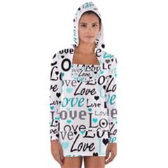 Love pattern - cyan Women s Long Sleeve Hooded T-shirt