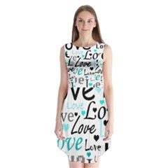 Love pattern - cyan Sleeveless Chiffon Dress