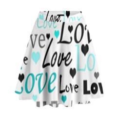 Love pattern - cyan High Waist Skirt