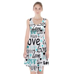 Love pattern - cyan Racerback Midi Dress