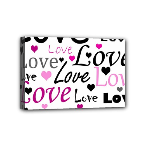 Love pattern - magenta Mini Canvas 6  x 4