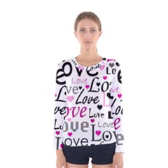 Love pattern - magenta Women s Long Sleeve Tee