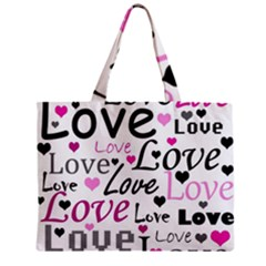 Love pattern - magenta Zipper Mini Tote Bag