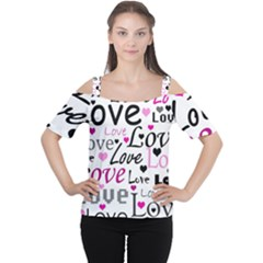 Love pattern - magenta Women s Cutout Shoulder Tee