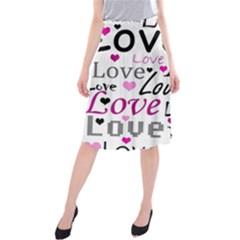 Love pattern - magenta Midi Beach Skirt