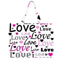 Love pattern - magenta Zipper Large Tote Bag