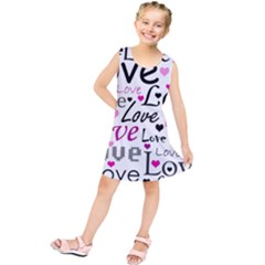 Love pattern - magenta Kids  Tunic Dress