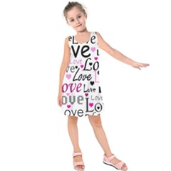 Love Pattern   Magenta Kids  Sleeveless Dress