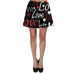 Red Love pattern Skater Skirt