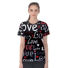 Red Love pattern Women s Sport Mesh Tee