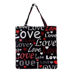 Red Love pattern Grocery Tote Bag
