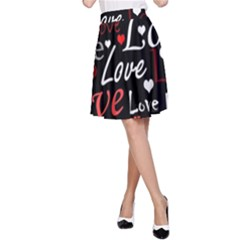 Red Love pattern A-Line Skirt