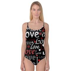Red Love pattern Camisole Leotard