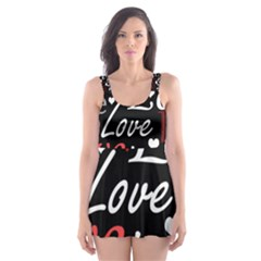 Red Love pattern Skater Dress Swimsuit