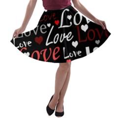 Red Love pattern A-line Skater Skirt