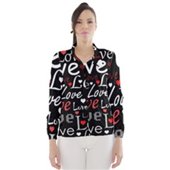 Red Love pattern Wind Breaker (Women)