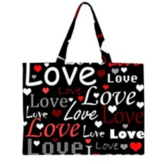 Red Love pattern Large Tote Bag