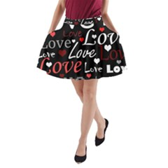 Red Love pattern A-Line Pocket Skirt