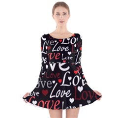 Red Love pattern Long Sleeve Velvet Skater Dress