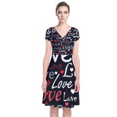 Red Love pattern Short Sleeve Front Wrap Dress
